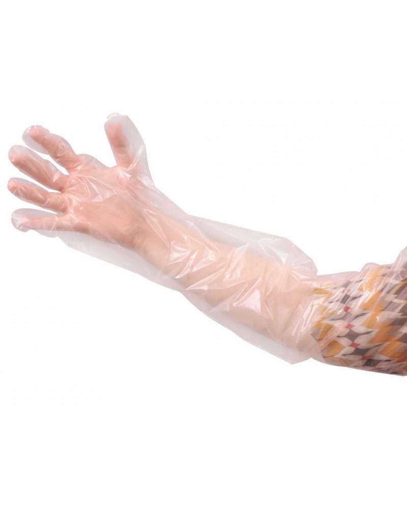 Einweguntersuchugshandschuhe (Rektalhandschuh) orange, 90 cm