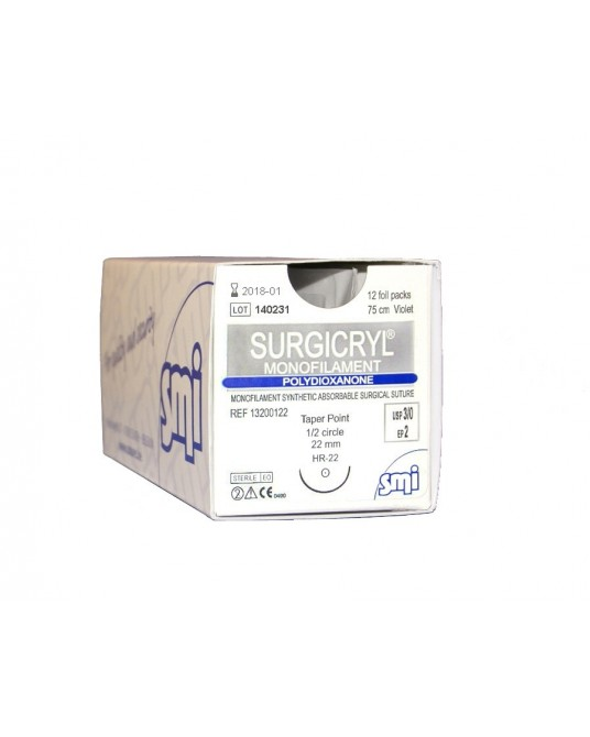 Surgicryl PDO SMI, Rundkörper Nadel, 12 St.